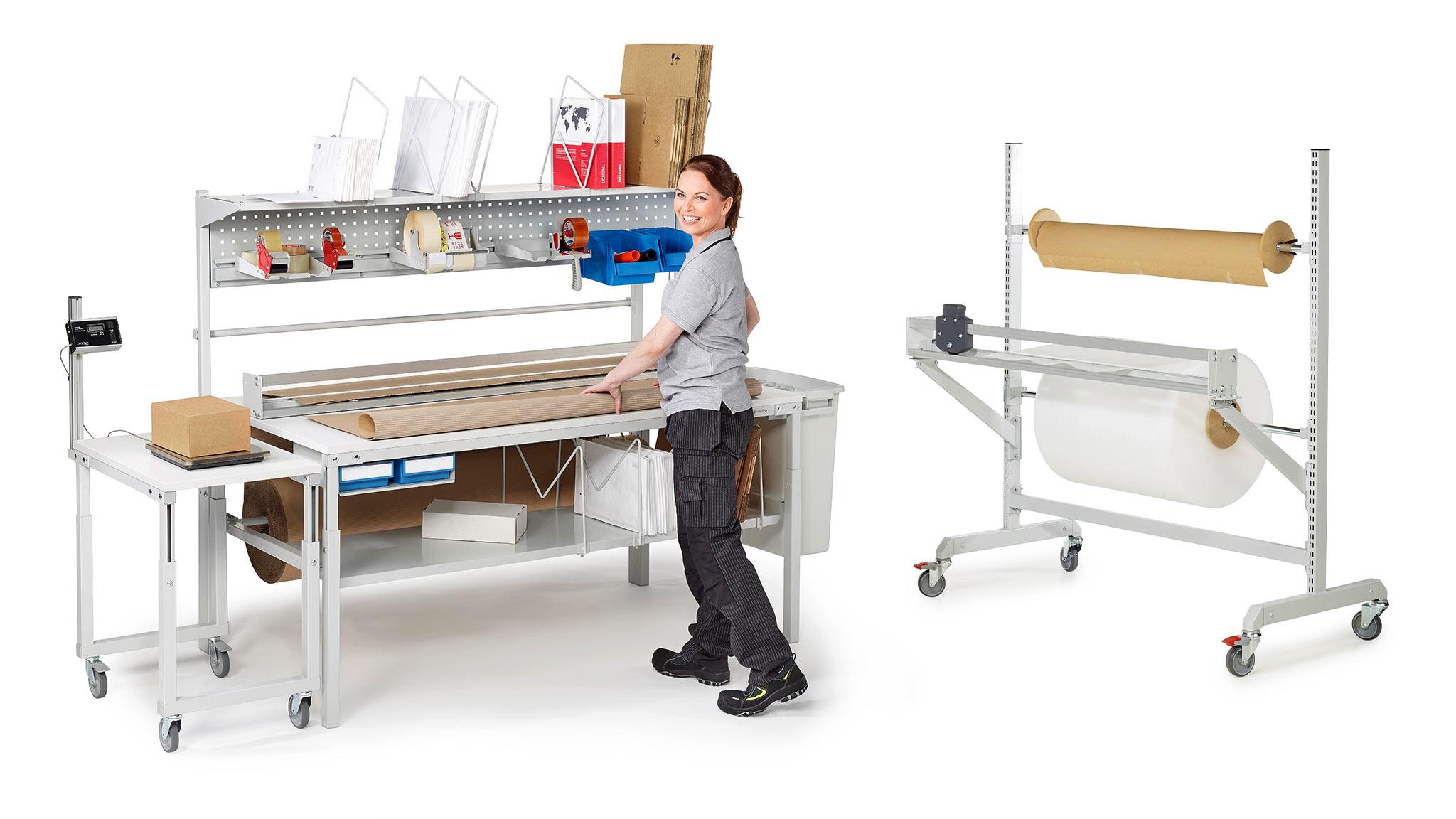 Pakkauspöydät ja materiaalitelineet